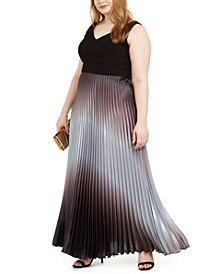 Plus Size Solid & Ombré-Pleated Gown