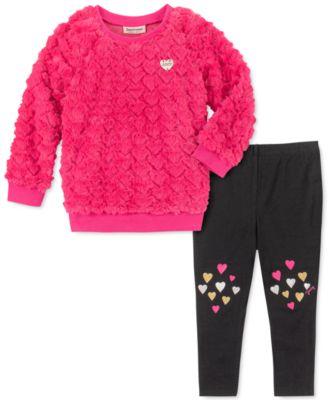 Little Girls 2-Pc. Faux-Fur Heart Sweatshirt & Leggings Set