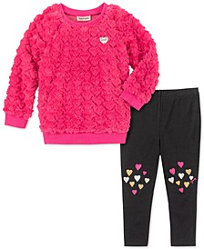 Little Girls 2-Pc. Faux-Fur Heart Sweatshirt & Leggings Set