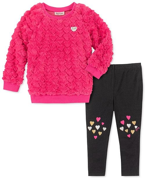 Juicy Couture Little Girls 2-Pc. Faux-Fur Heart Sweatshirt & Leggings Set