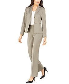 Petite Straight-Leg Tonal-Striped Pants Suit