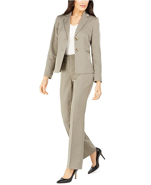 Le Suit Straight-Leg Tonal-Striped Pants Suit