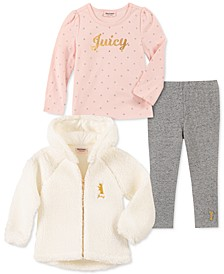 Little Girls 3-Pc. Hooded Fleece Jacket, Printed Top & Leggings Set