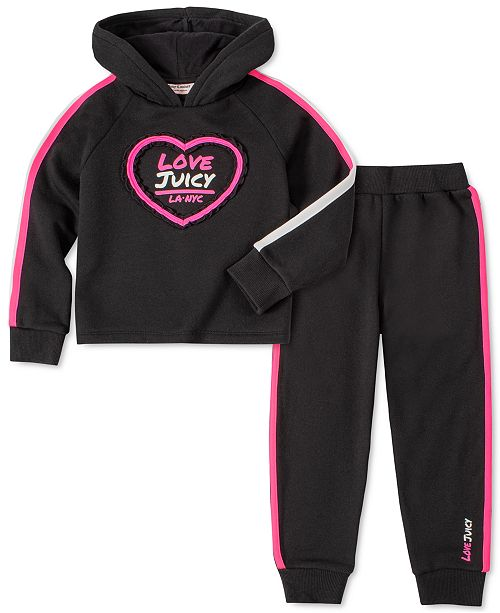 Juicy Couture Little Girls 2-Pc. Striped Hoodie & Jogger Pants Set