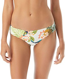 Island Life Printed Shirred Cheeky Bikini Bottoms