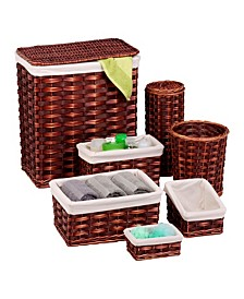 7-Piece Wicker Hamper & Basket Set