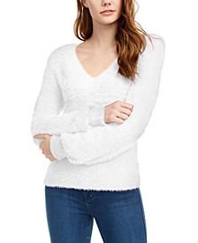 Juniors' Balloon-Sleeve Eyelash Sweater