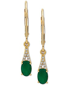Emerald (7/8 ct. t.w.) & Diamond (1/20 ct. t.w.) Drop Earrings in 10k Gold