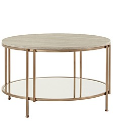 Celsus Cocktail Table with Faux Marble Top and Mirror Bottom