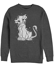 Men's Lion King Simba Smirk Paint Splatter, Crewneck Fleece