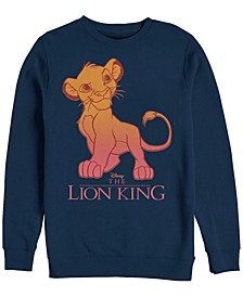 Men's Lion King Young Simba Sunset Gradient, Crewneck Fleece