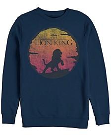Men's Lion King Vintage Inspired Sunset Logo, Crewneck Fleece