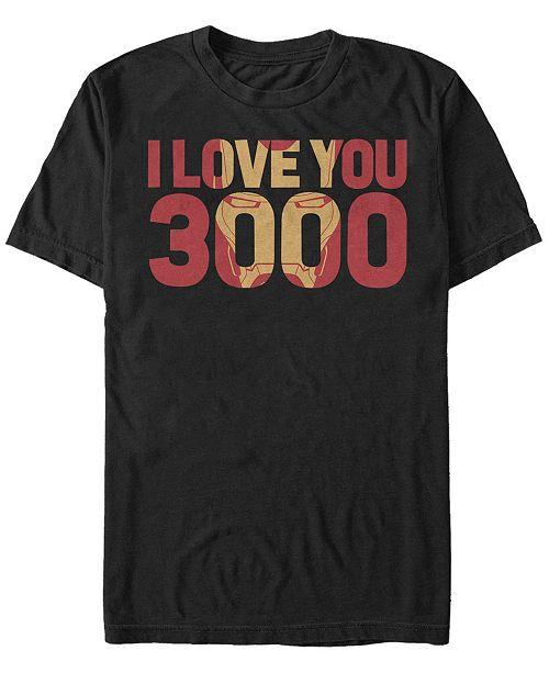 Marvel Men's Avengers Endgame I Love You 3000 Iron Man, Short Sleeve T-shirt