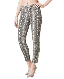 Soho Python-Print High-Rise Skinny Jeans