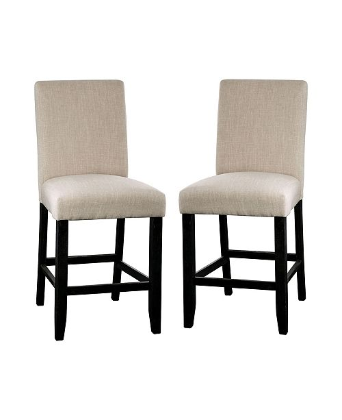"""Furniture of America Robley 25"""" Upholstered Counter Chair (Set of 2)"""