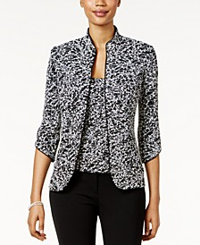 Printed Jacket and Top Set, Regular & Petite Sizes
