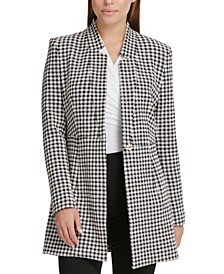 Houndstooth-Print Topper Jacket