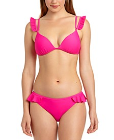 Juniors' Solid Ruffle Trim Push-Up Bikini Top & Hipster Bottoms, Created for Macy's