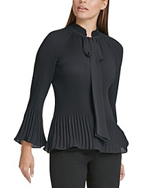 Tie-Neck Bell-Sleeve Top