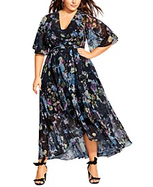 Trendy Plus Size Shadow Floral-Print Maxi Dress