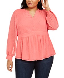 Plus Size Clip-Dot Blouse, Created for Macy's
