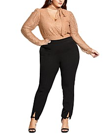 Trendy Plus Size Split-Cuff Straight-Leg Pants