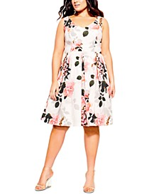 Trendy Plus Size Soft Blossom Printed Dress