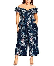 Trendy Plus Size Mystery Off-The-Shoulder Jumpsuit