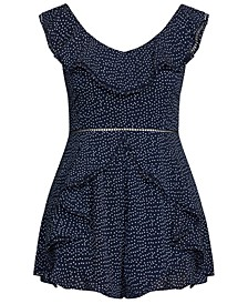 Trendy Plus Size Pin-Dot Ruffled Romper