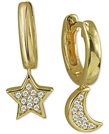 Cubic Zirconia Small Star & Moon Dangle Hoop Earrings in 18k Gold-Plated Sterling Silver, .5""
