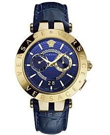 Men's Swiss V-Race Blue Leather Strap Watch 46mm