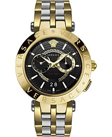 Men's Swiss V-Race Two-Tone Stainless Steel Bracelet Watch 46mm