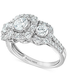 Marchesa Certified Diamond Three-Stone Halo Engagement Ring (2 ct. t.w.) in 18k White Gold