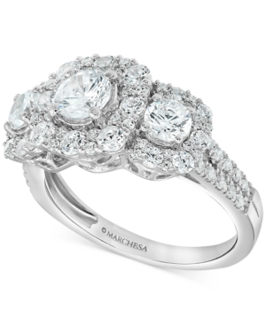 Certified Diamond Three-Stone Halo Engagement Ring (2 ct. t.w.) in 18k White Gold