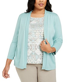 Plus Size Cottage Charm Layered-Look Sweater