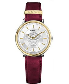 Women's Swiss V-Circle Red Leather Strap Watch 38mm