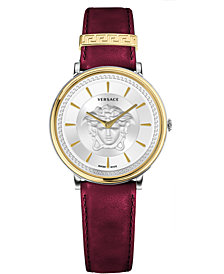Versace Women's Swiss V-Circle Red Leather Strap Watch 38mm