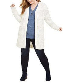 Plus Size Textured-Knit Long Cardigan, Created for Macy's