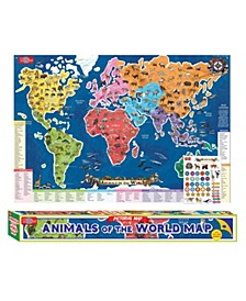 Animals of The World Map Pictorial Poster