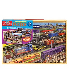 Trains Jumbo Wooden Puzzles In A Wooden Box, 2 Puzzles