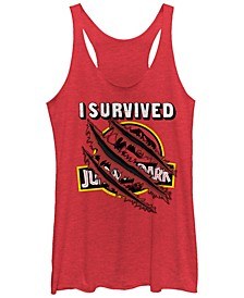 Jurassic Park Women's I Survived Claw Marks on Logo Tri-Blend Tank Top