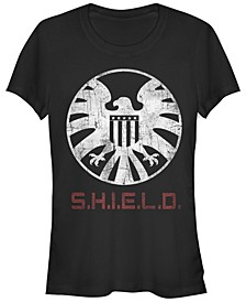 Marvel Women's Agents of Shield Distressed Logo Short Sleeve Tee Shirt