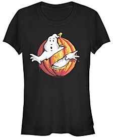 Ghostbusters Women's Classic Logo Halloween Pumpkin Short Sleeve Tee Shirt