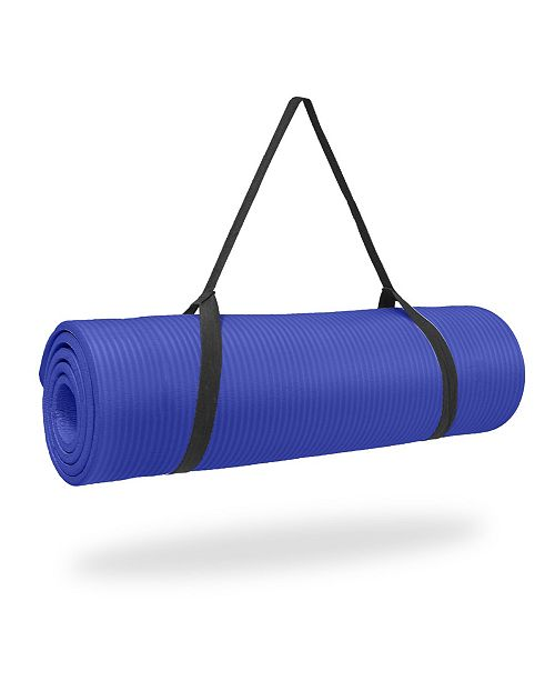 """Pure Fitness 0.5"""" Thick NBR Exercise Mat with Strap"""