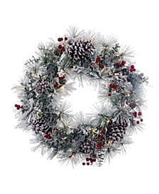 24-Inch Battery-Operated Red Berries and Pinecone LED Wreath