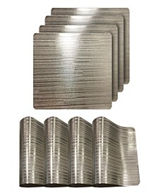"""Reversible Emery Smooth Metallic Stripes 15"""" Placemats - Set of 4"""