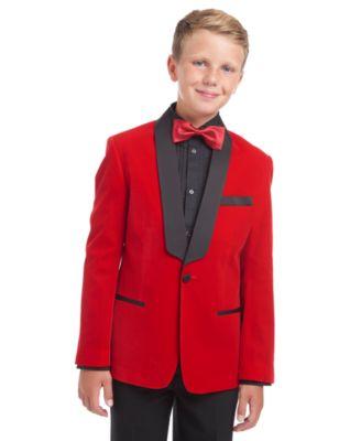 Boys Slim Fit Shawl Velvet Dinner Jacket in Toddlers to Boys Sizing