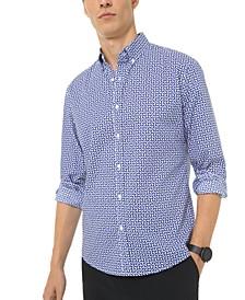 Men's Slim-Fit Stretch Geometric Print Shirt