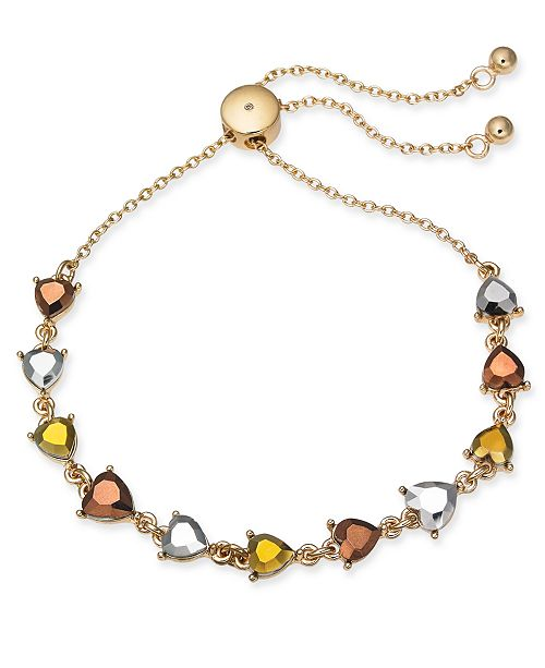 INC International Concepts INC Gold-Tone Stone Heart Slider Bracelet, Created For Macy's