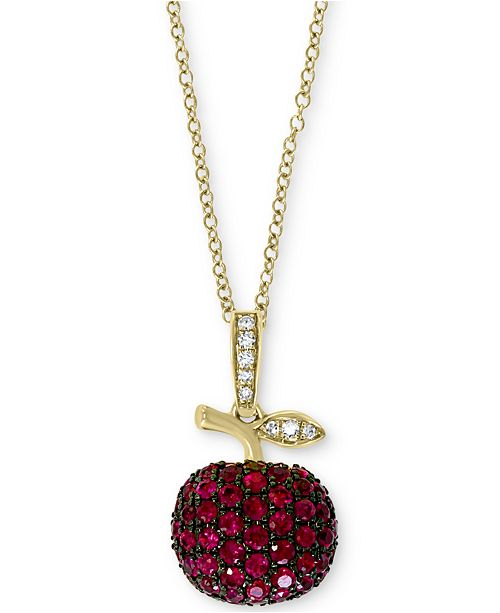 """EFFY Collection Certified Ruby (5/8 ct.t.w.) & Diamond Accent 18"""" Apple Pendant Necklace in 14k Gold"""